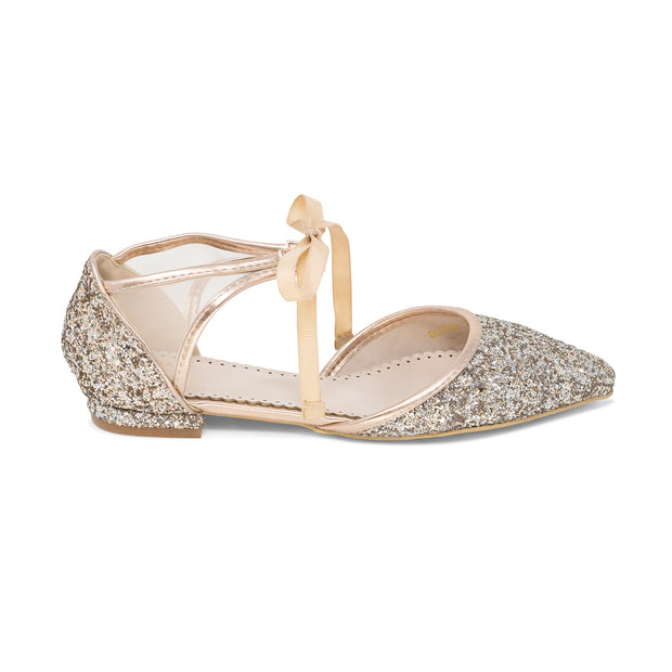 Olivia Rose Gold -Wedding Shoes Glitter Ballet Flat - Kate Whitcomb Shoes