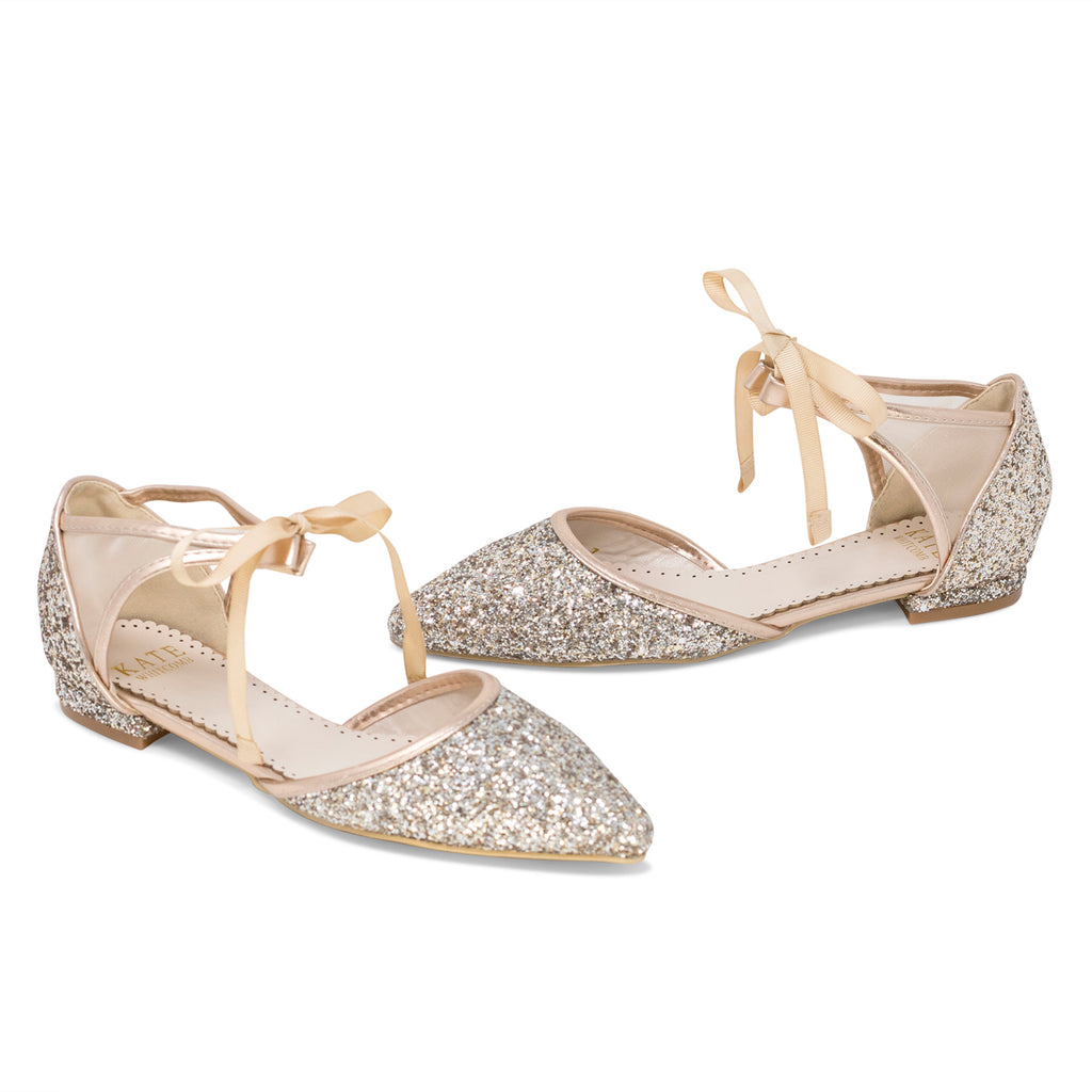 Olivia Rose Gold -Bridal Shoes Glitter Ballet Flat - Kate Whitcomb Shoes