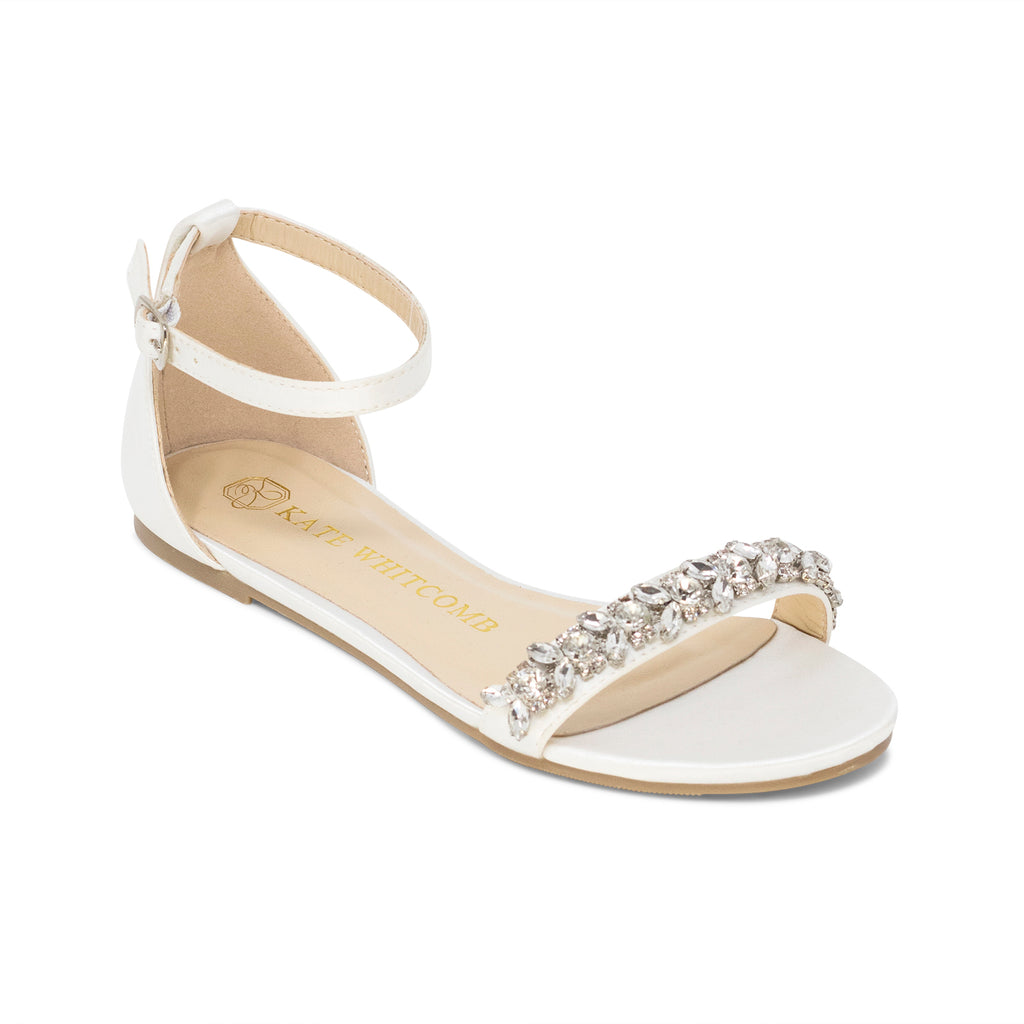 Bridal Shoes Rhinestone Wedding Flat - Finn Ivory - Kate Whitcomb Shoes