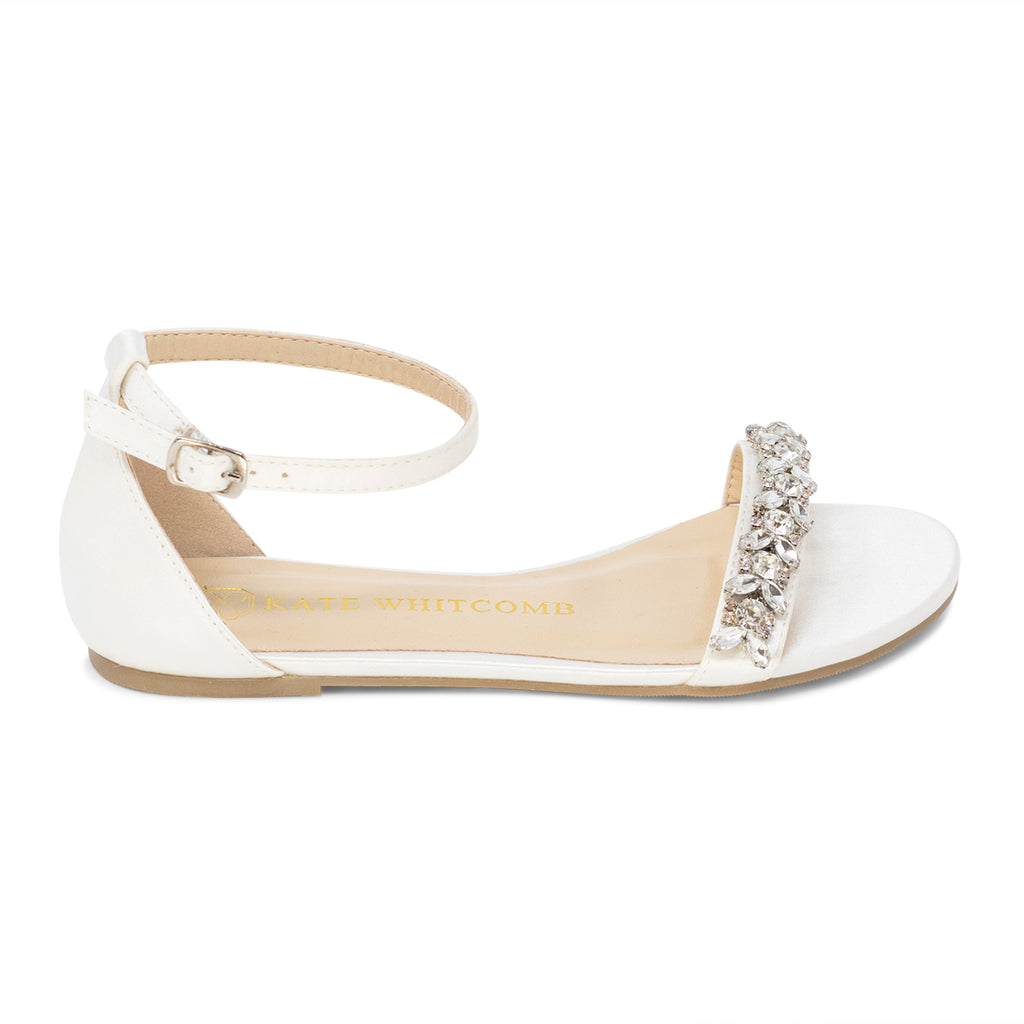 Wedding Shoes Rhinestone Bridal Flat - Finn Ivory
