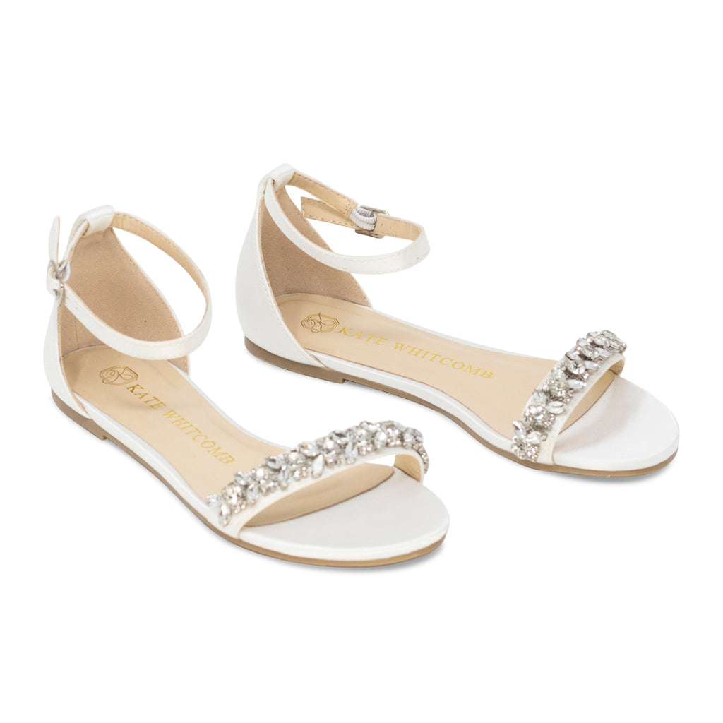 Comfortable Wedding Shoes Rhinestone Bridal Flat - Finn Ivory - Kate Whitcomb Shoes