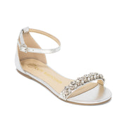 Comfortable Wedding Shoes Rhinestone Bridal Flat - Sisley Silver - Kate Whitcomb Shoes