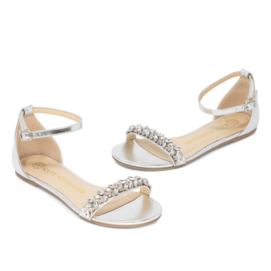 Wedding Shoes Rhinestone Bridal Flat - Sisley Silver