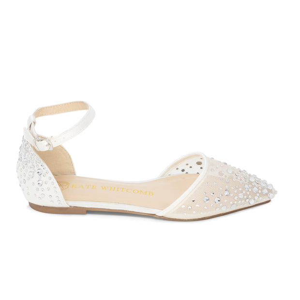 Wedding Flats Rhinestone Bridal Shoes - Elle Ivory - Kate Whitcomb Shoes