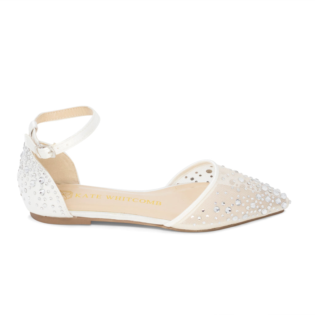 Comfortable Wedding Shoes Rhinestone Ballet Flat - Elle Ivory