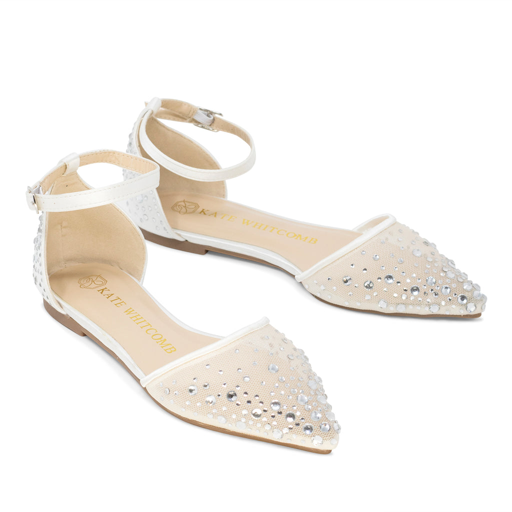 Wedding Flats Rhinestone Bridal Shoes - Elle Ivory
