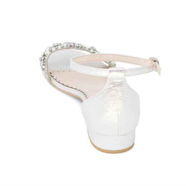 Aerin Silver -Bridal Shoes Pearl and Rhinestone - Kate Whitcomb Shoes