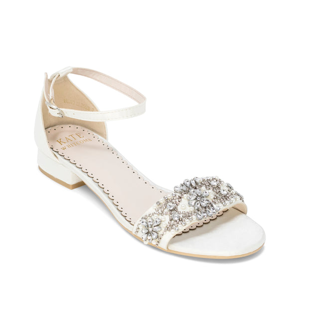 Aerin Ivory -Bridal Shoes Pearl and Rhinestone - Kate Whitcomb Shoes