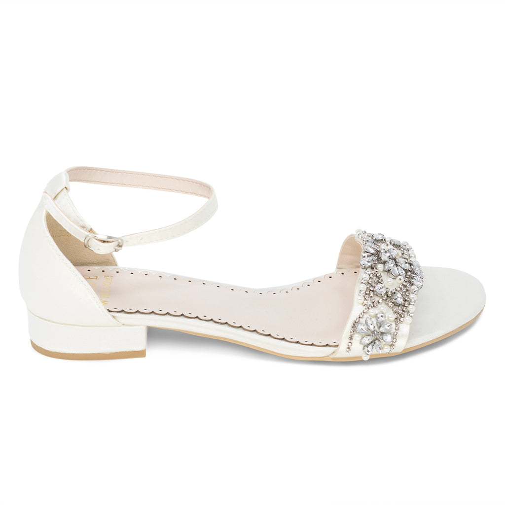 Wedding Shoes - Aerin Ivory with Pearl and Rhinestone - Kate Whitcomb Shoes