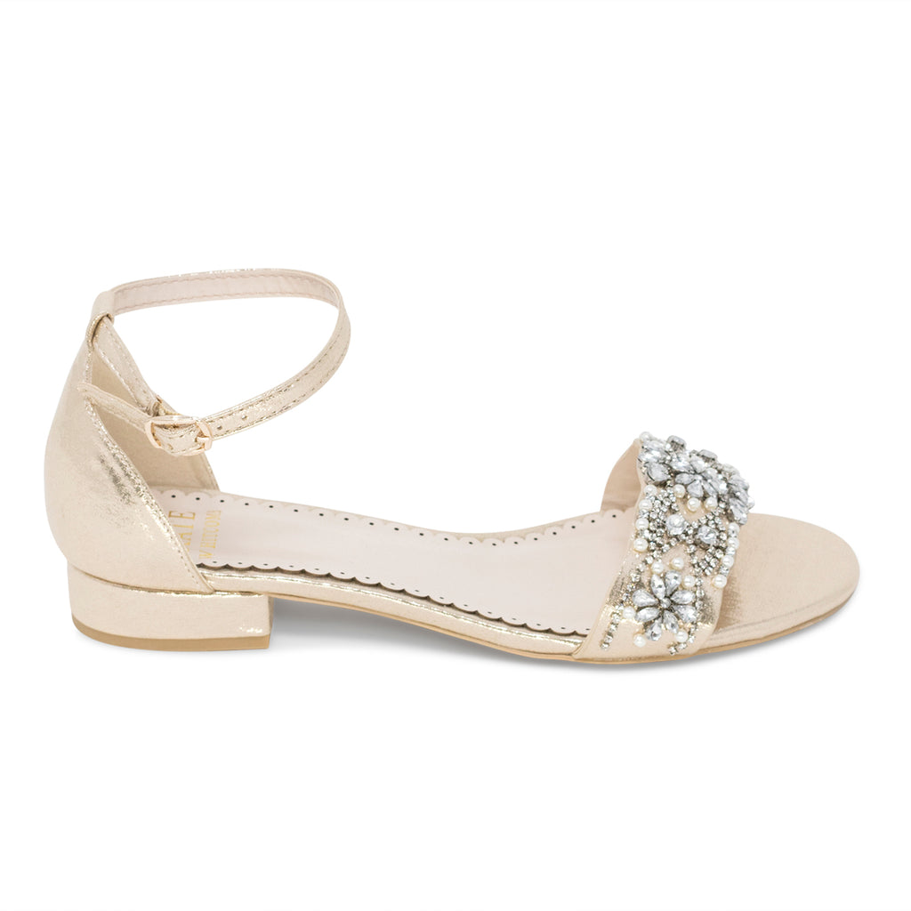 Aerin Light Gold -Bridal Shoes Pearl and Rhinestone - Kate Whitcomb Shoes