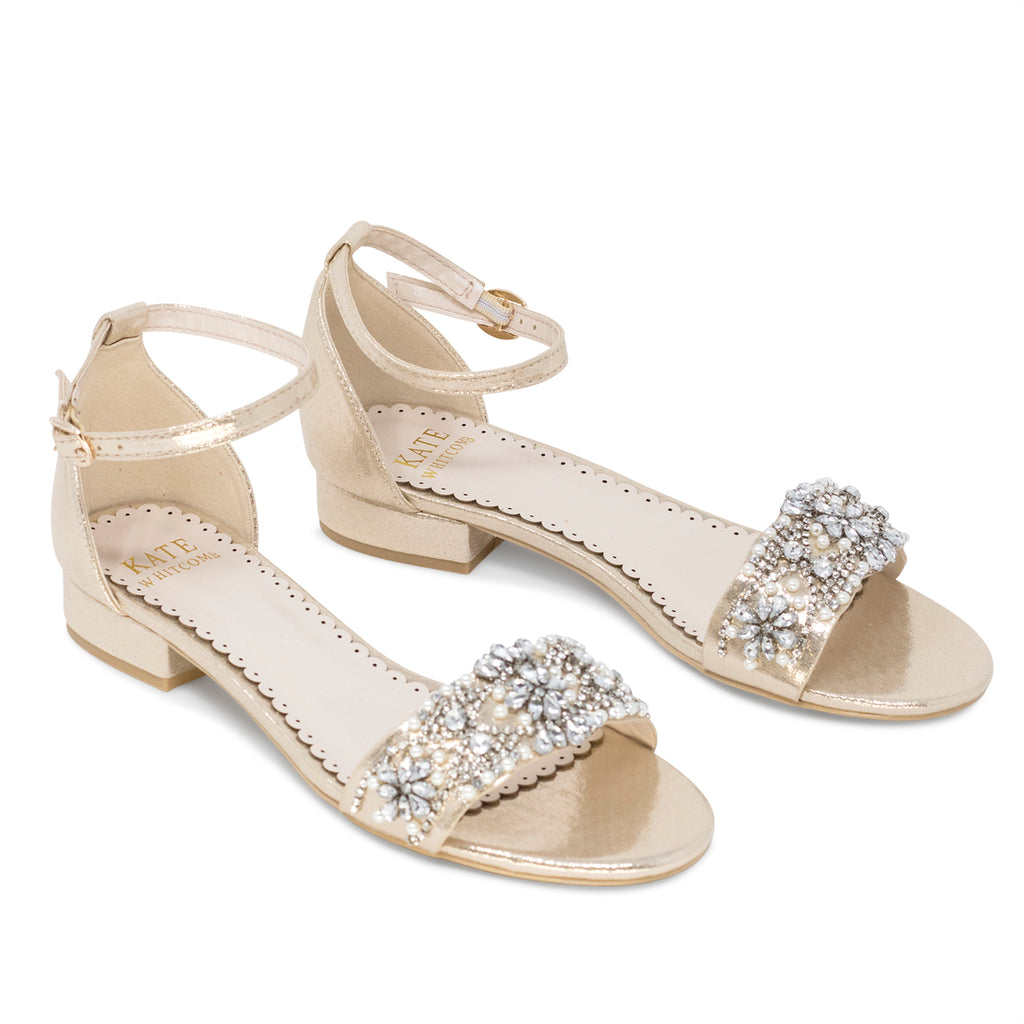 Aerin Light Gold -Bridal Shoes Pearl and Rhinestone