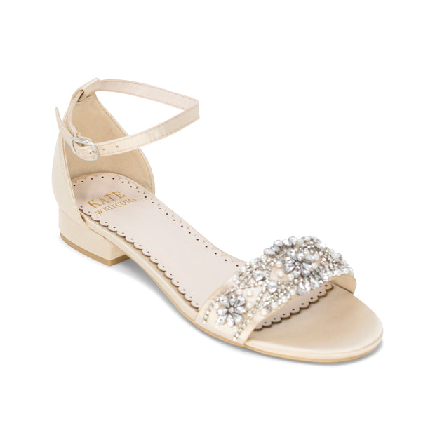 Aerin Champagne -Bridal Shoes Pearl and Rhinestone - Kate Whitcomb Shoes