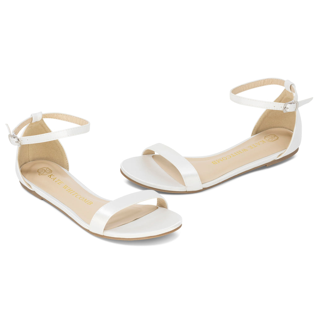 Wedding Flats Satin Flat - Flora Ivory