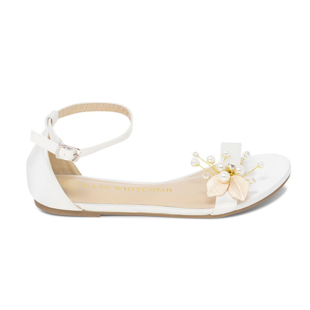 Wedding Flats Pearl and Gold Bridal Shoes - Maggie Ivory - Kate Whitcomb Shoes
