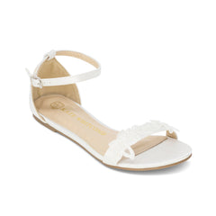 Wedding Flats Lace Detail Bridal Shoes Satin - Lily Ivory - Kate Whitcomb Shoes