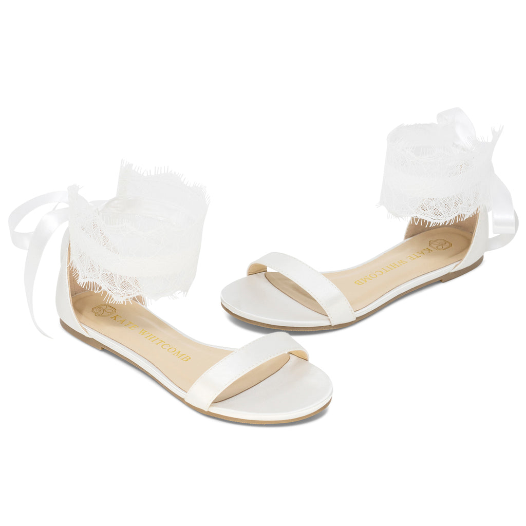 Wedding Flats Lace Bridal Shoes Satin - Bliss Ivory - Kate Whitcomb Shoes