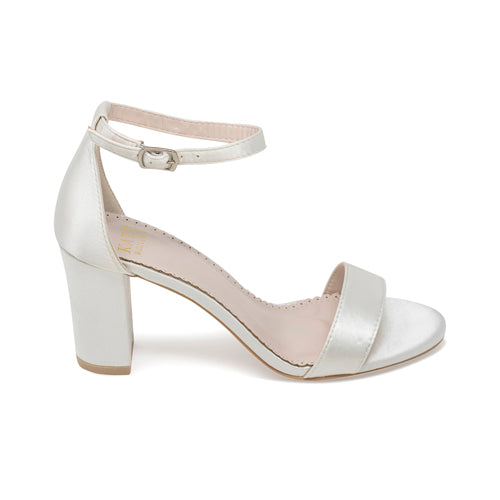 Bridal Shoes Ivory Block Heel - Laura Ivory