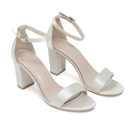 Bridal Shoes Ivory Block Heel - Laura Ivory - Kate Whitcomb Shoes