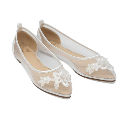 Bridal Shoes Lace Flats - Avery Ivory - Kate Whitcomb Shoes
