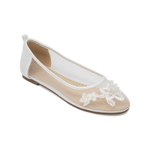 Bridal Shoes Lace Flats - Arden Ivory - Kate Whitcomb Shoes