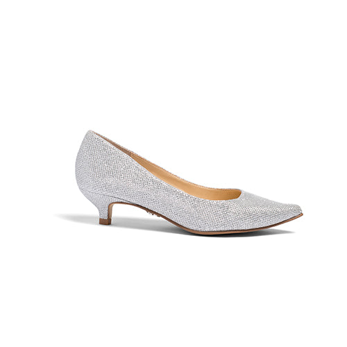 Bridal Flats Low Kitten Heel Wedding Pumps - Kim Silver - Kate Whitcomb Shoes