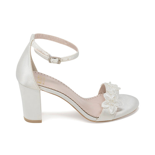 Bridal Shoes Lace Block Heel - Lia Ivory - Kate Whitcomb Shoes
