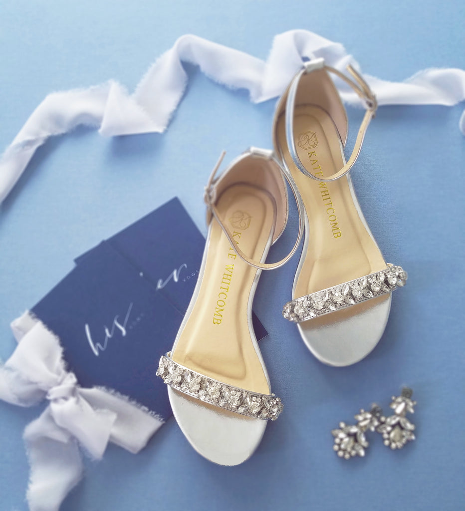 wedding flats, bridal flat shoes, wedding shoes flat, silver flats, flat heel, kate whitcomb shoes, sisley