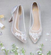 Bridal Shoes Lace Heel - Sofia Ivory - Kate Whitcomb Shoes