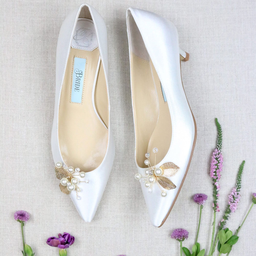Bride Shoes Satin Bridal Pump Low Heel Gold Floral Detail - Tess Ivory - Kate Whitcomb Shoes