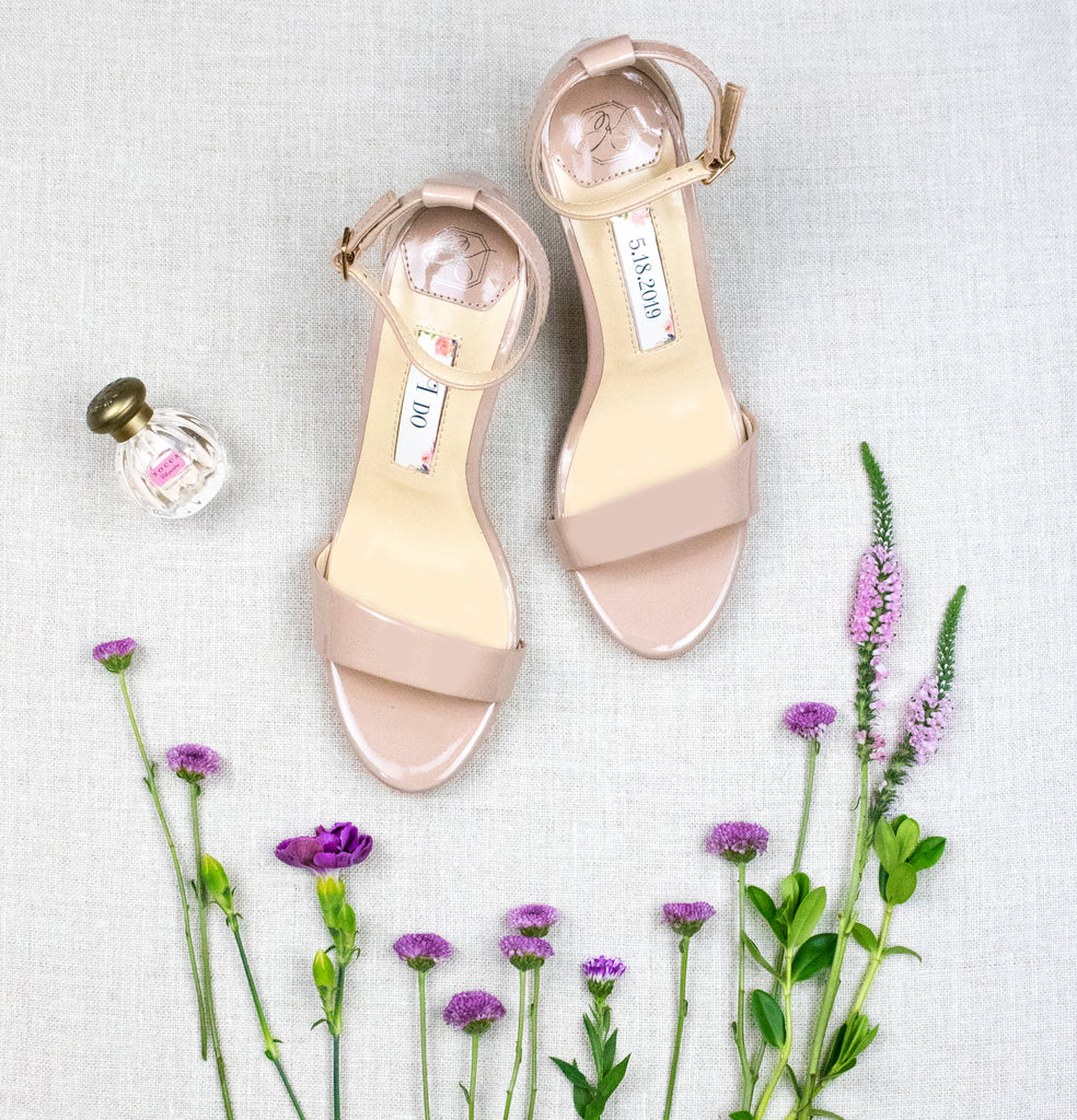 bridal shoes, wedding heels, bride flat, comfortable sandals, vera, champagne, styled