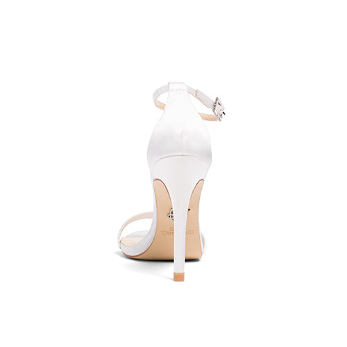 Bridal Shoes Satin Ankle Strap High Heel - Samantha Ivory - Kate Whitcomb Shoes