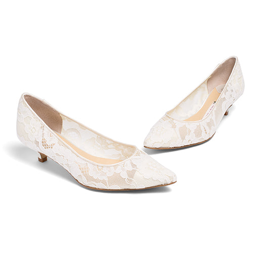 Bridal Flats Lace Wedding Low Heel Pump - Nora Ivory - Kate Whitcomb Shoes