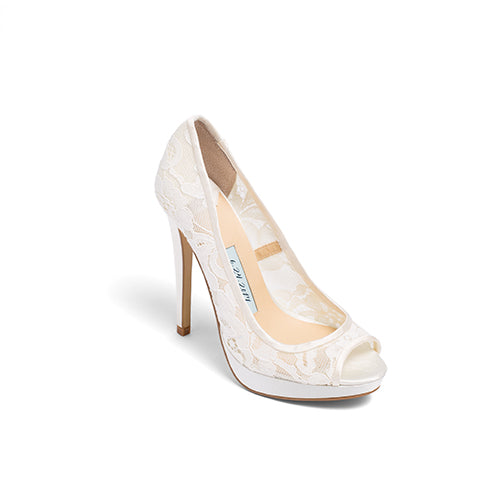 Lace Wedding Shoes Peep Toe Lace Bridal Heels - Jane Ivory - Kate Whitcomb Shoes