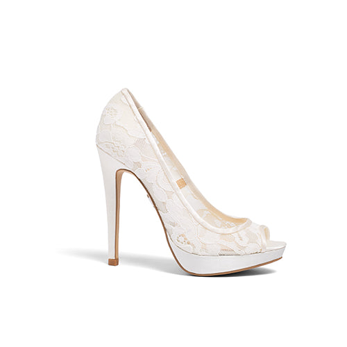 Bride Shoes Peep Toe Lace Bridal Heels - Jane Ivory - Kate Whitcomb Shoes