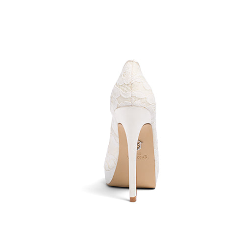 wedding shoes, bridal heels, bride flat, lace peep toe, jane, ivory, back