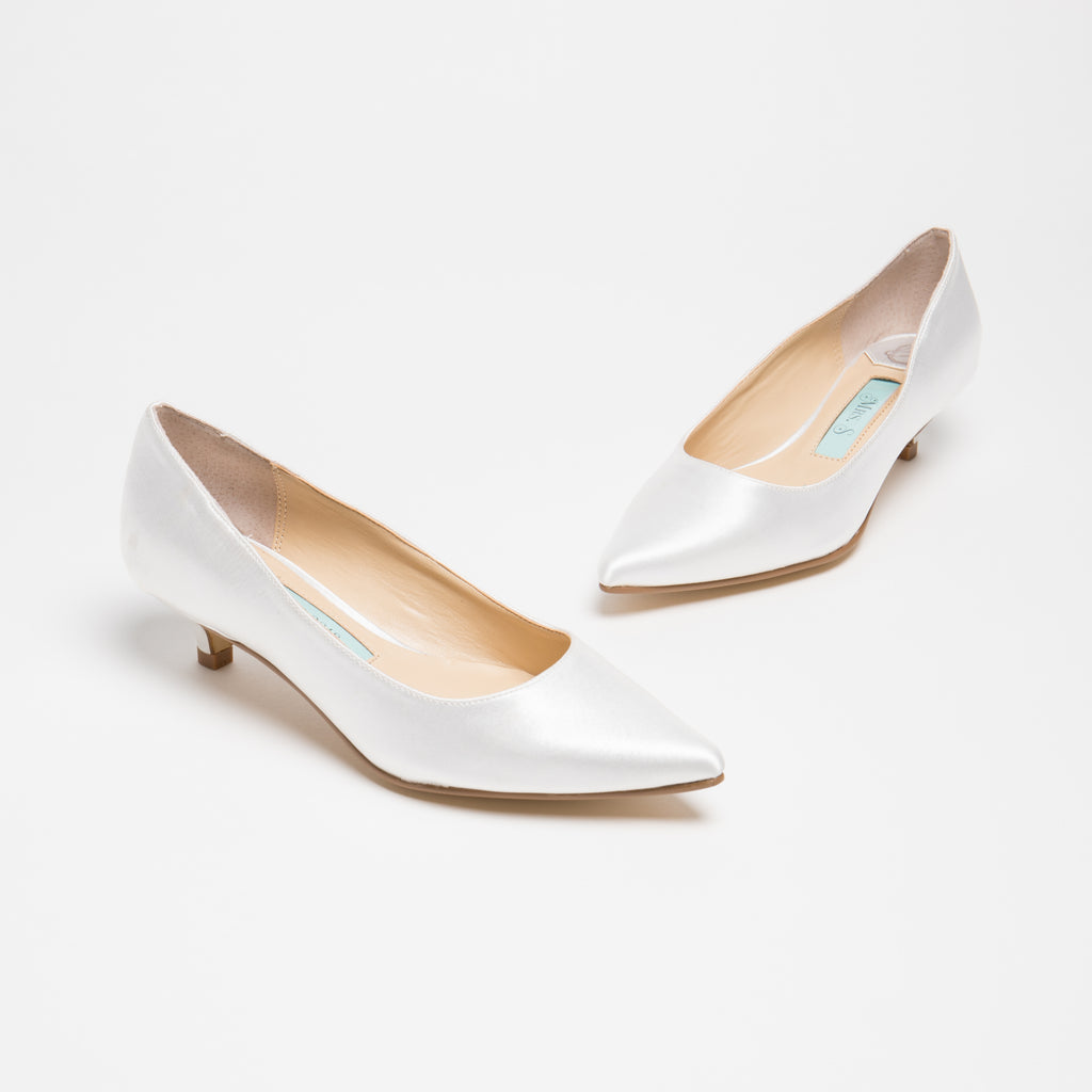 Bridal Flats Satin Low Heel Pump - Eden Ivory - Kate Whitcomb Shoes