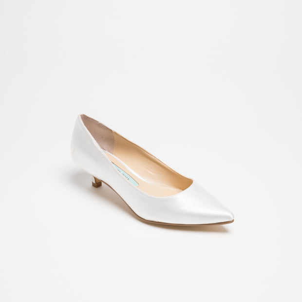 Wedding Shoes Satin Low Heel Pump - Eden Ivory - Kate Whitcomb Shoes