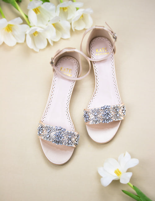 Wedding Shoes - Aerin Champagne with Pearl and Rhinestone - Kate Whitcomb Shoes
