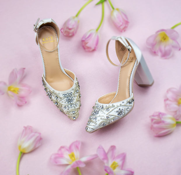 Wedding Shoes Block Heel - Coco Ivory