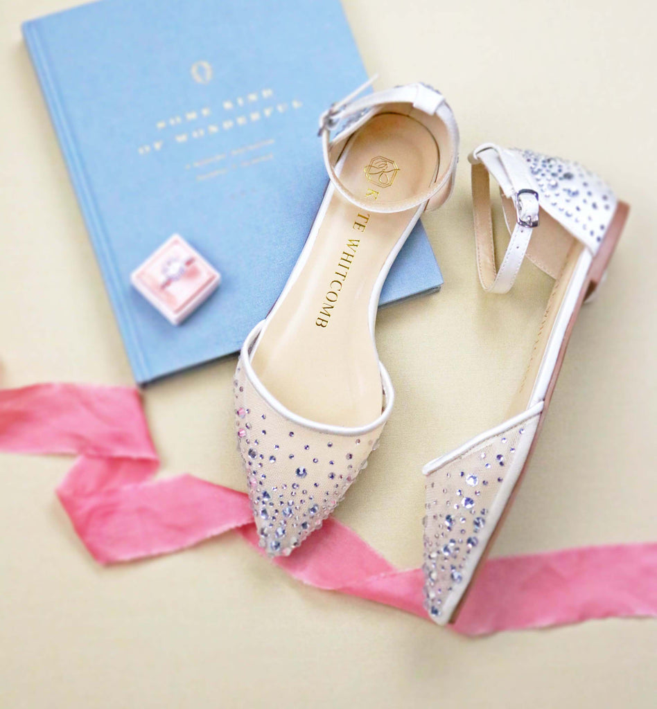 bridal shoes, wedding heels, bride flat, rhinestones, flats, elle, ivory, styled