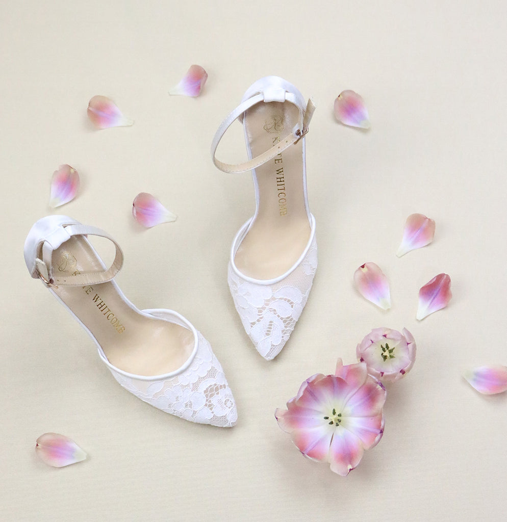 Bride Shoes Lace High Heel - Hazel Ivory - Kate Whitcomb Shoes
