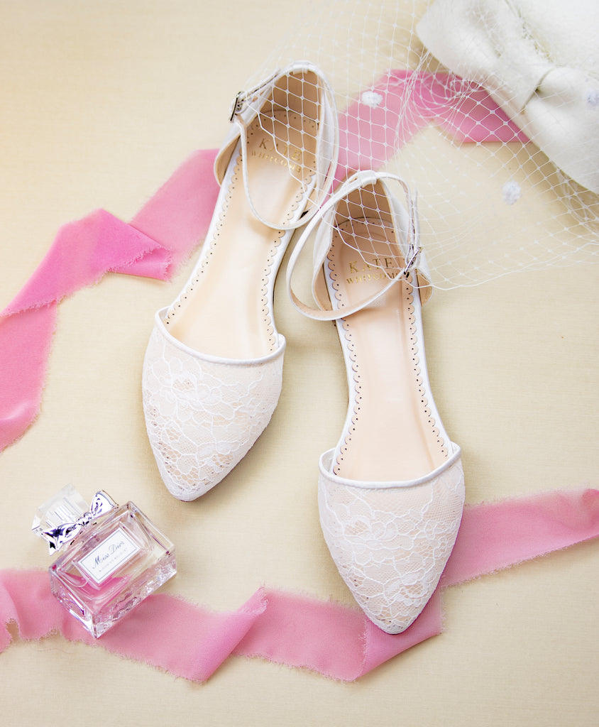 Wedding Shoes lace ballet flat - Emma Ivory - Kate Whitcomb Shoes