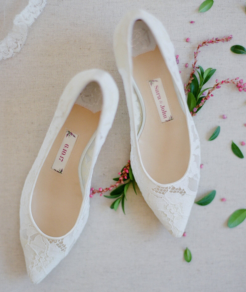 bridal flats, wedding shoes, bride flat, lace, low heel, nora, ivory, styled 1