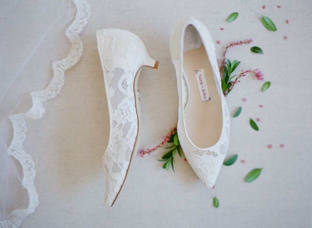 bridal flats, wedding shoes, bride flat, lace, low heel, nora, ivory, styled 2