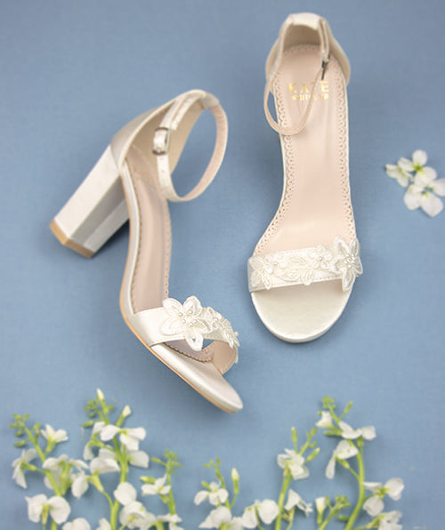 Bridal Shoes Lace Block Heel - Lia Ivory