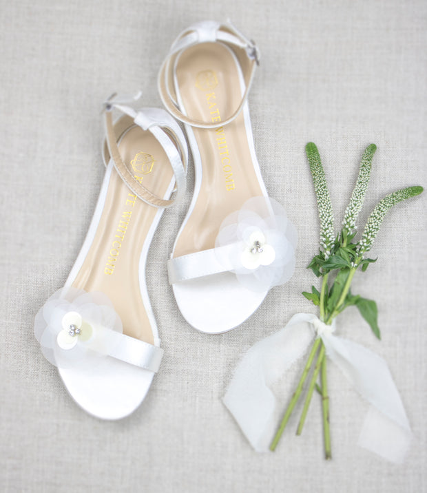 Wedding Flats with floral detail - Rachel Ivory - Kate Whitcomb Shoes