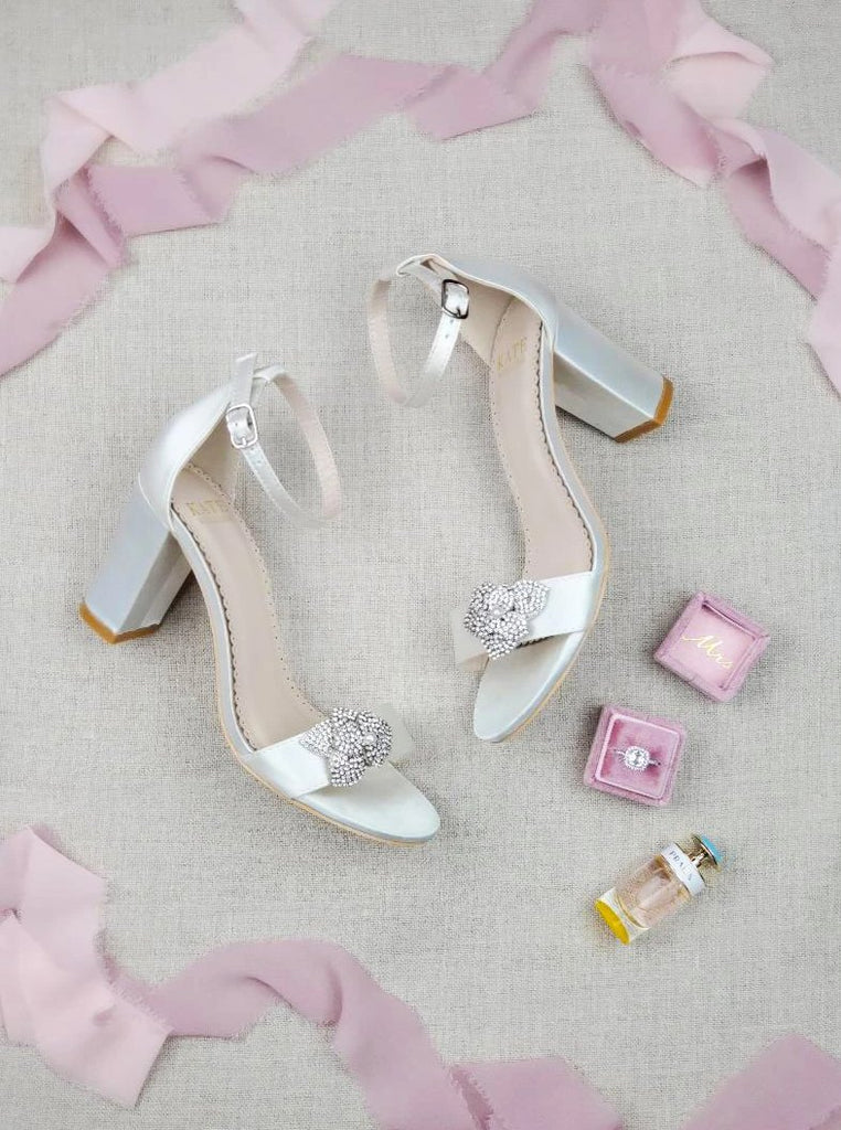 Bridal Shoes Ivory Block Heel - Pia Ivory - Kate Whitcomb Shoes