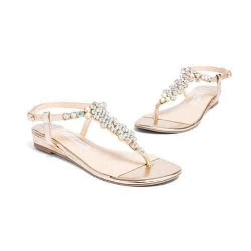 Bridal Flats Rhinestone Wedding Shoes - Bella Gold - Kate Whitcomb Shoes