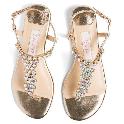 Wedding Shoes Flats Rhinestones - Bella Gold - Kate Whitcomb Shoes