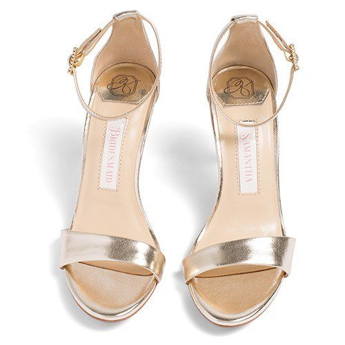bridal shoes, wedding heels, bride flat, sandals, vera, gold, front